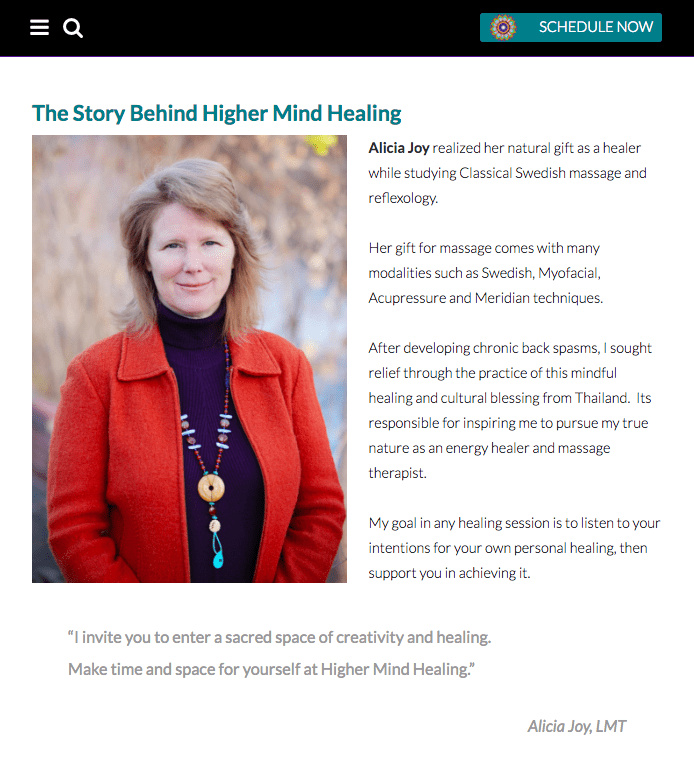 Westminster web design, higher mind healing, alicia joy